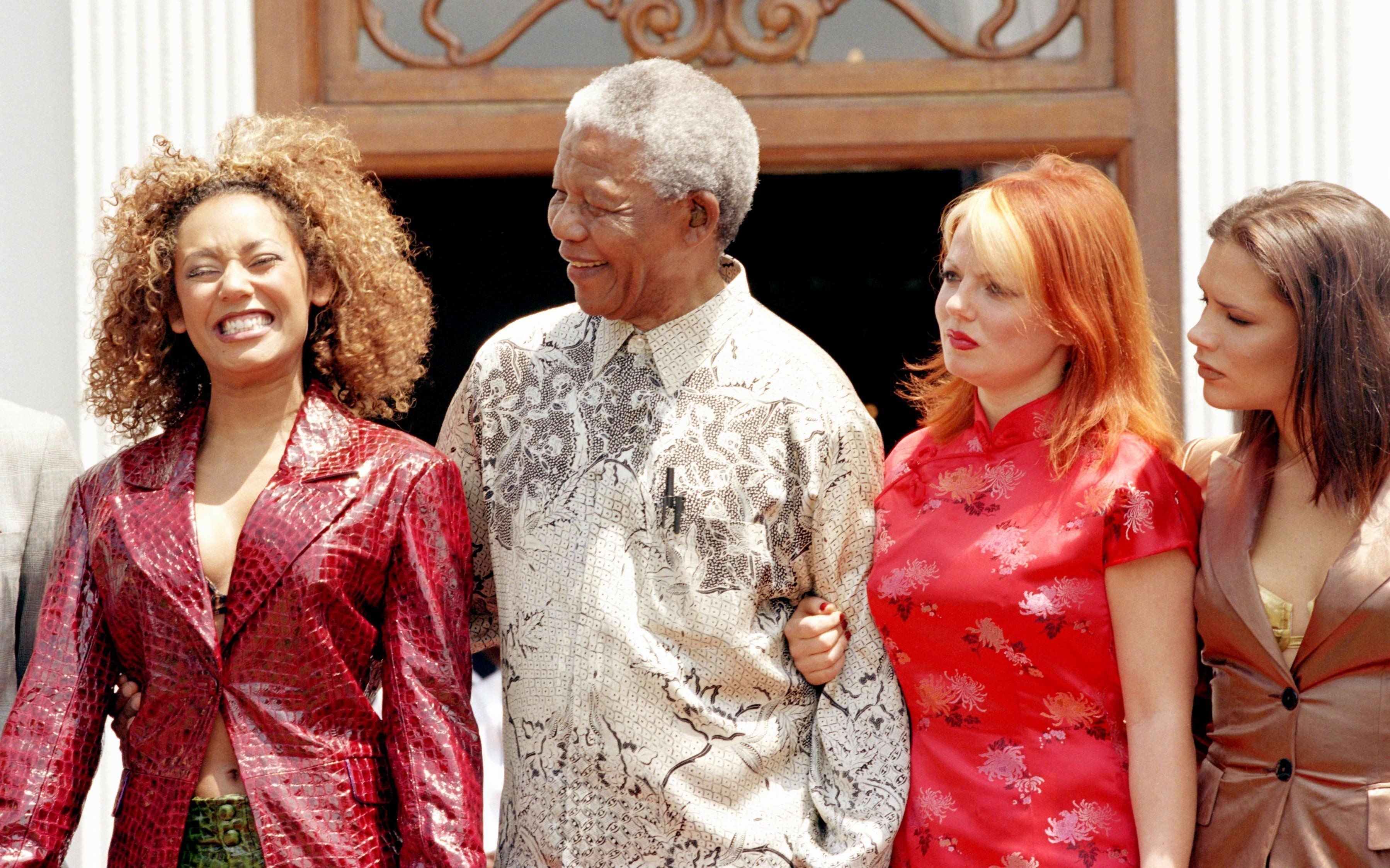 The Prince Of Wales'S Visit To South Africa.Meeting With Nelson Mandela & The Spice Girls. . (Photo by Mark Cuthbert/UK Press via Getty Images)
