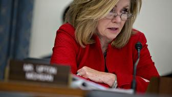 Representative Marsha Blackburn, a Republican from Tennessee, questions witnesses during a House Energy and Commerce Subcommittee hearing on Volkswagen AG's emissions cheating settlement in Washington, D.C., U.S., on Tuesday, Dec. 6, 2016. The settlement, approved by a U.S. judge in October, was negotiated following Volkswagens admission that 2.0-liter VW and Audi diesel engines effectively contained a defeat device to evade emission tests. Photographer: Andrew Harrer/Bloomberg via Getty Images