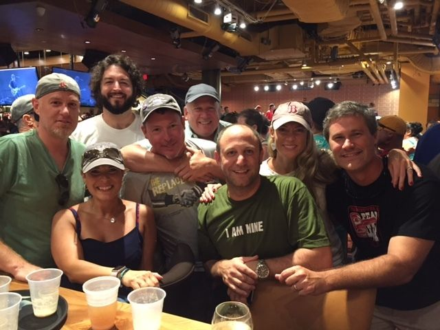 Fenway Shows: (Left to right) Michael and Myrsini Smith, Mike McLaughlin, David Prather, Michael Calafati, Joe Yannucci, me a