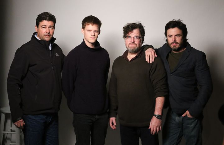 Kyle Chandler, Lucas Hedges, director Kenneth Lonergan and Casey Affleck from the film ''Manchester by the Sea' pose for a po