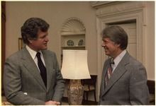 President Jimmy Carter (right) with Senator Ted Kennedy in the Oval Office of the White House, December 1977.