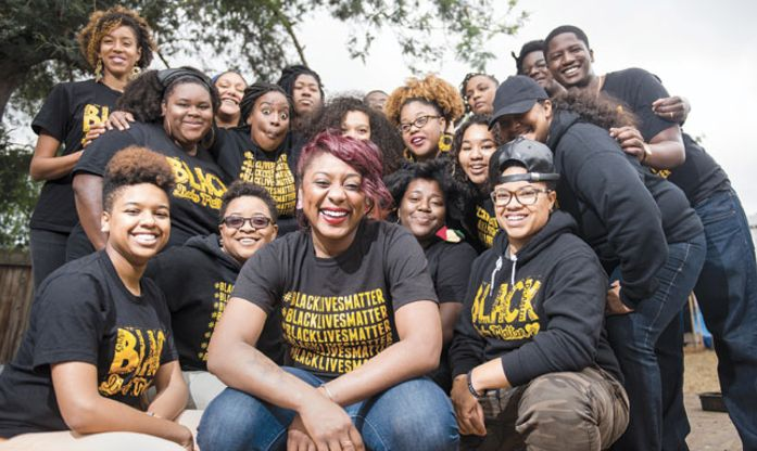 Alicia Garza with Bay Area #BlackLivesMatter activists