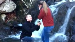 Waterfall Wedding Proposal Goes Horribly