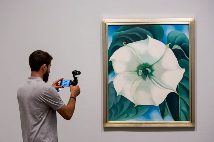 A photographer takes a photo of a painting by Georgia O'Keeffe.
