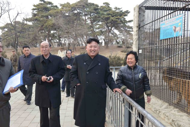 North Korean leader Kim Jong Un visits the Central Zoo in 2014, when projects were under way to...
