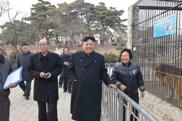 North Korean leader Kim Jong Un visits the Central Zoo in 2014, when projects were under way to build new buildings and