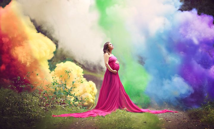 In October, Jessica Mahoney was the star of a viral rainbow baby photo that included smoke bombs of various colors.