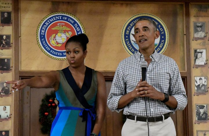 U.S. President Barack Obama and First Lady Michelle Obama speak to U.S. Marines and personnel on Christmas day at Marine Corp