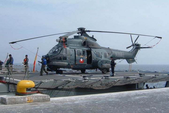 A Chilean Navy AS 532SC Cougar helicopter in Mejillones, Chile.