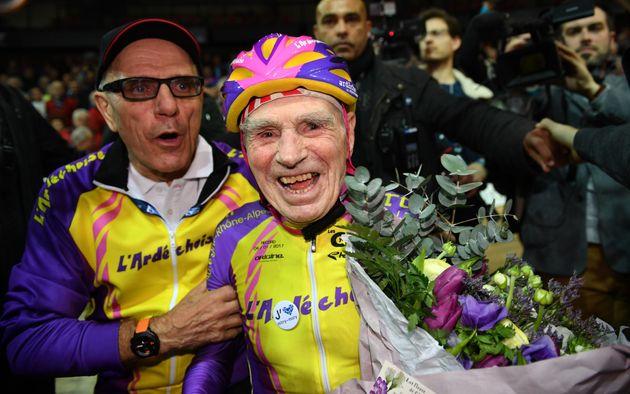 Robert Marchand celebrates his big