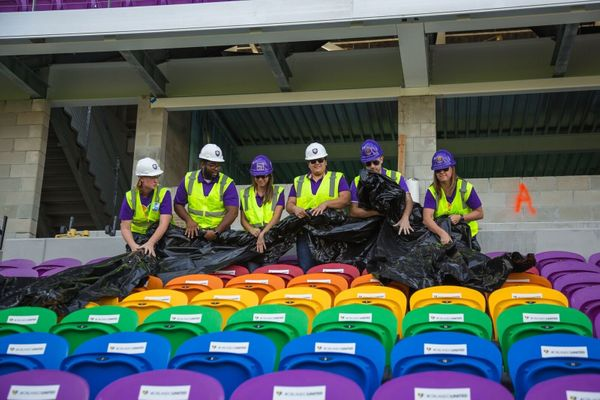 Orlando's soccer stadium unveiled the seats with the help of Phil Rawlins, who founded Orlando City Soccer Club.