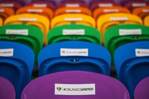 Each seat, which features an #OrlandoUnited stamp, memorializes one of the tragedy's victims.
