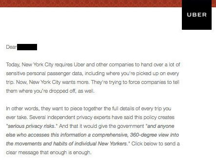 Uber sent this email to riders on Monday, urging them to petition New York City to drop its request for drop-off location dat
