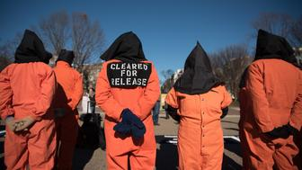 On January 11, 2016, activists marched in front of the White House in Washington, D.C., to support the closing of Guantanamo Bay. There was song, prayer, and representative acts over the course of several hours to show the need for the prolonged closing of this detention center. (Photo by Monica Jorge/NurPhoto) (Photo by NurPhoto/NurPhoto via Getty Images)