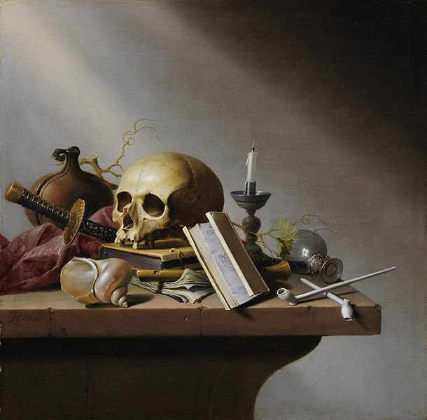 "Harmen Steenwyck, ""Vanitas,"" circa 1640, oil on panel, 37.7 cm (14.8 in) x 38.2 cm (15 in)."