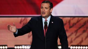 CLEVELAND, OH - JULY 20:  Sen. Ted Cruz (R-TX) delivers a speech on the third day of the Republican National Convention on July 20, 2016 at the Quicken Loans Arena in Cleveland, Ohio. Republican presidential candidate Donald Trump received the number of votes needed to secure the party's nomination. An estimated 50,000 people are expected in Cleveland, including hundreds of protesters and members of the media. The four-day Republican National Convention kicked off on July 18.  (Photo by Alex Wong/Getty Images)