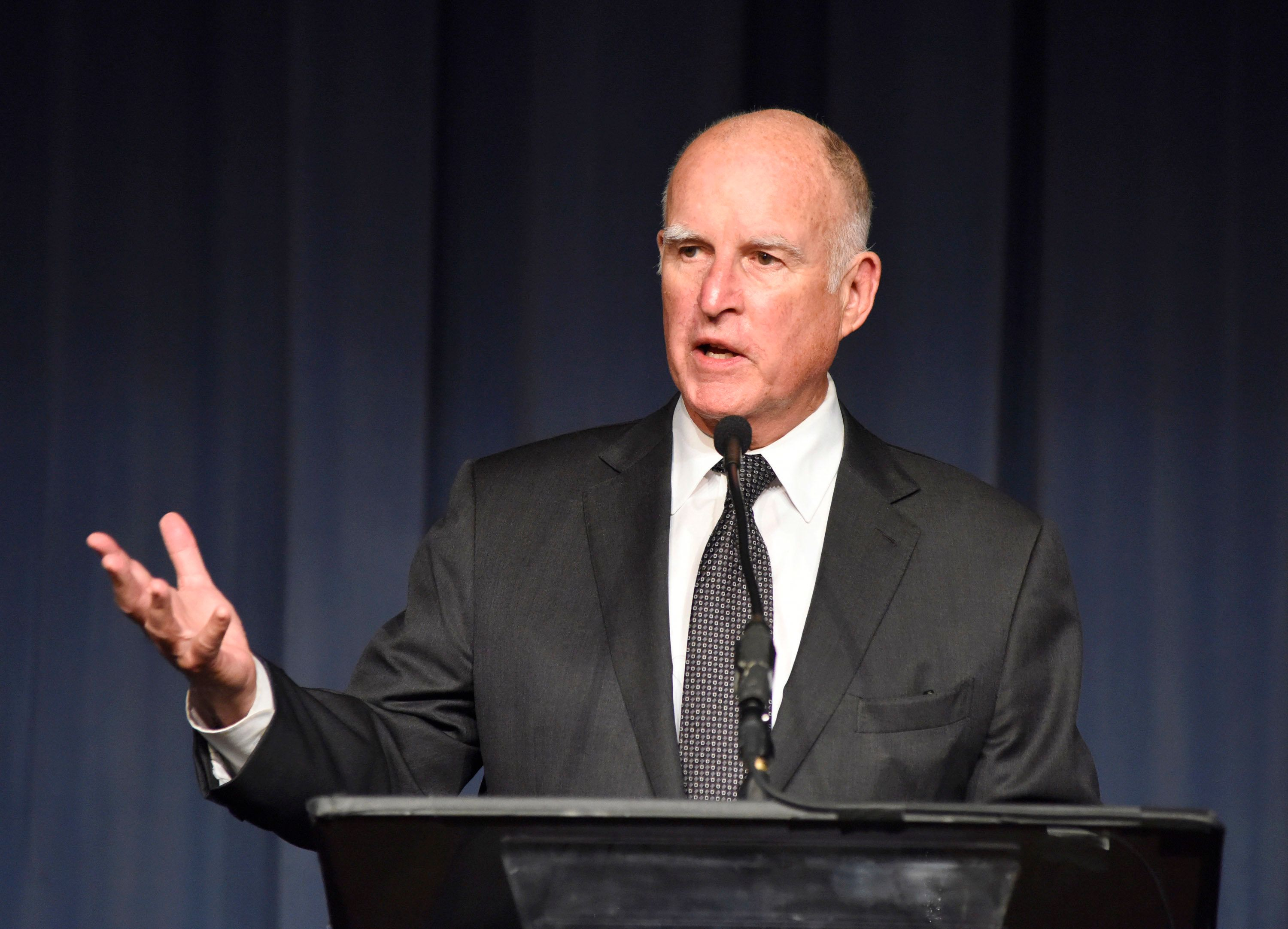 LOS ANGELES, CA - MAY 03:  (EXCLUSIVE COVERAGE) Governer Jerry Brown speaks at the Berggruen Institute: 5 Year Anniversary Celebration at The Beverly Wilshire on May 3, 2016 in Los Angeles, California.  (Photo by Vivien Killilea/Getty Images for Berggruen Institute)