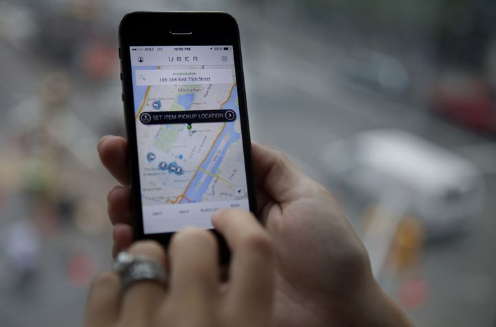 In this photo, the Uber app shows a user'slocation on a map in Manhattanon Aug. 6, 2014. The company is fighting