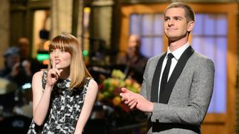 SATURDAY NIGHT LIVE -- 'Andrew Garfield' Episode 1660 -- Pictured: (l-r) Emma Stone and Andrew Garfield on May 3, 2014 -- (Photo by: Dana Edelson/NBC)