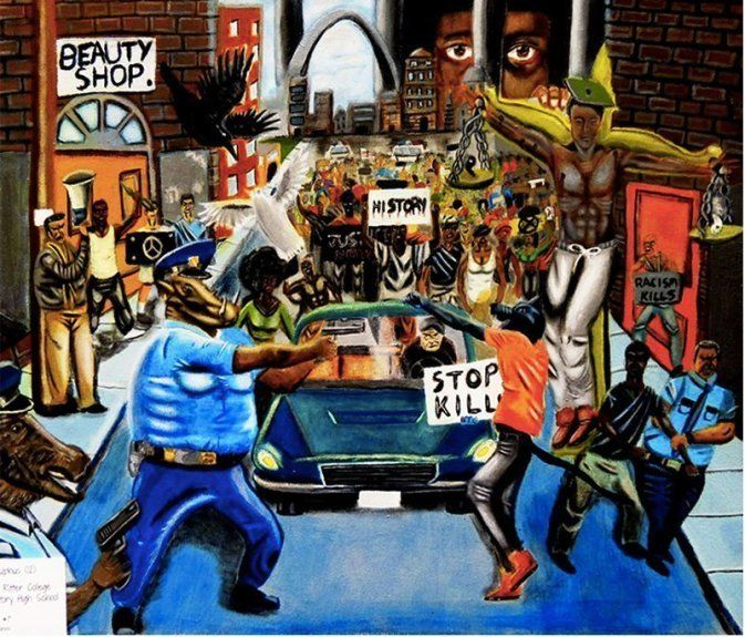 "David Pulphus' ""Untitled #1"" won an art competition held last year by Rep. William Lacy Clay (D-Mo.). Now, police unions say"