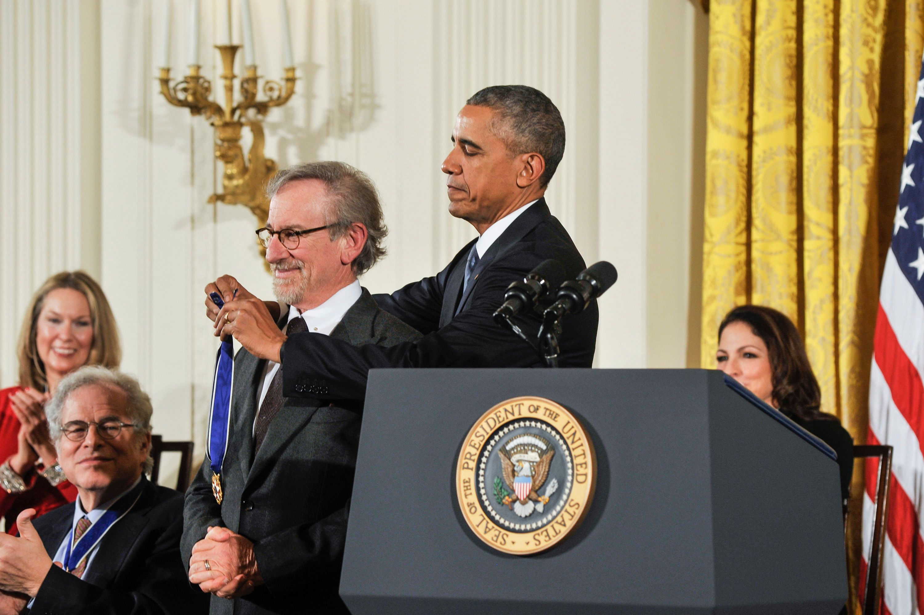 WASHINGTON, DC- NOVEMBER 24: President Barack Obama presents director Steven Spielberg with the Presidential Medal of Freedom during the 2015 Presidential Medal Of Freedom ceremony at the White House on November 24, 2015 in Washington, DC.   (Photo by Kris Connor/WireImage)