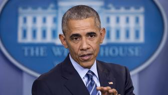 US President Barack Obama holds a year-end press conference in the Brady Press Briefing Room of the White House in Washington, DC, December 16, 2016. Obama said Friday he had confronted Vladimir Putin in person over allegations of Russian hacking when they met ahead of the US election, telling him to 'cut it out.' / AFP / SAUL LOEB        (Photo credit should read SAUL LOEB/AFP/Getty Images)
