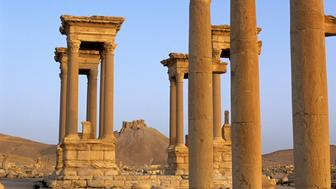SYRIA - 2001/01/01: Syria, Palmyra, Ancient Roman City, Colonnaded Street, Tetrapylon,castle Of Fakhr Ud-din. (Photo by Wolfgang Kaehler/LightRocket via Getty Images)