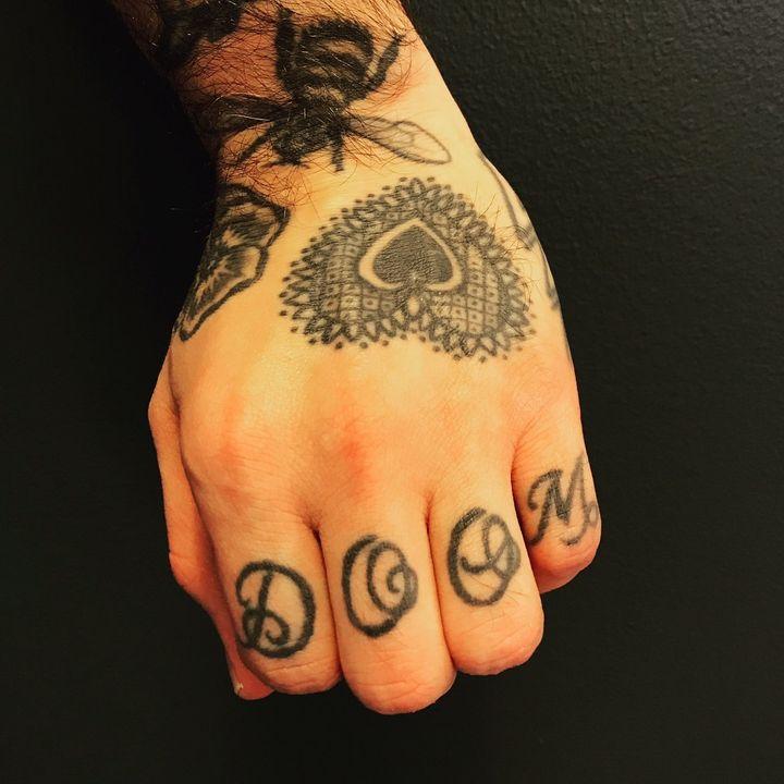 My knuckle tattoos.