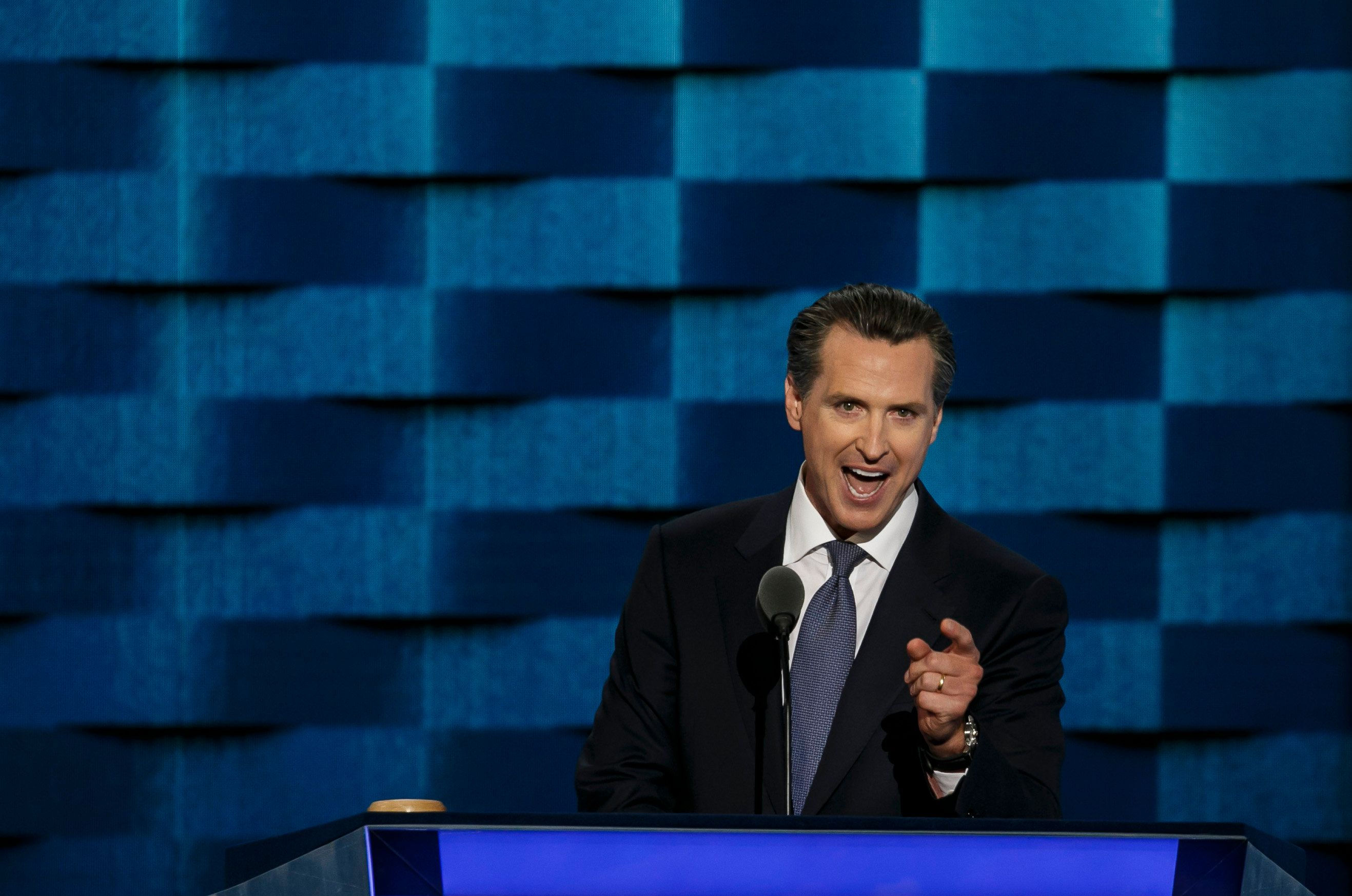 PHILADELPHIA, PA. -- WEDNESDAY, JULY 27, 2016: California Lieutenant Governor Gavin Newsom at the 2016 Democratic National Convention, in Philadelphia, Pa., on July 27, 2016. (Photo by Marcus Yam/Los Angeles Times via Getty Images)