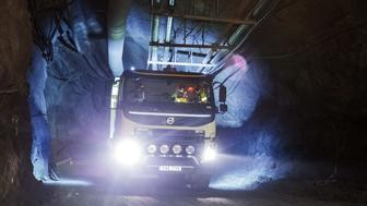A Volvo Autonomous FMX self-driving truck, manufactured by Volvo Group, drives through underground tunnels, at Kristineberg mine in the Boliden area in Arvidsjaur, Sweden, on Friday, Sept. 2, 2016. The Autonomous FMX is equipped with LiDAR light radar sensors and GPS technology to create 3D maps of the vehicle's surroundings enabling it to navigate its way through tunnels. Photographer: Krister Soerboe/Bloomberg via Getty Images