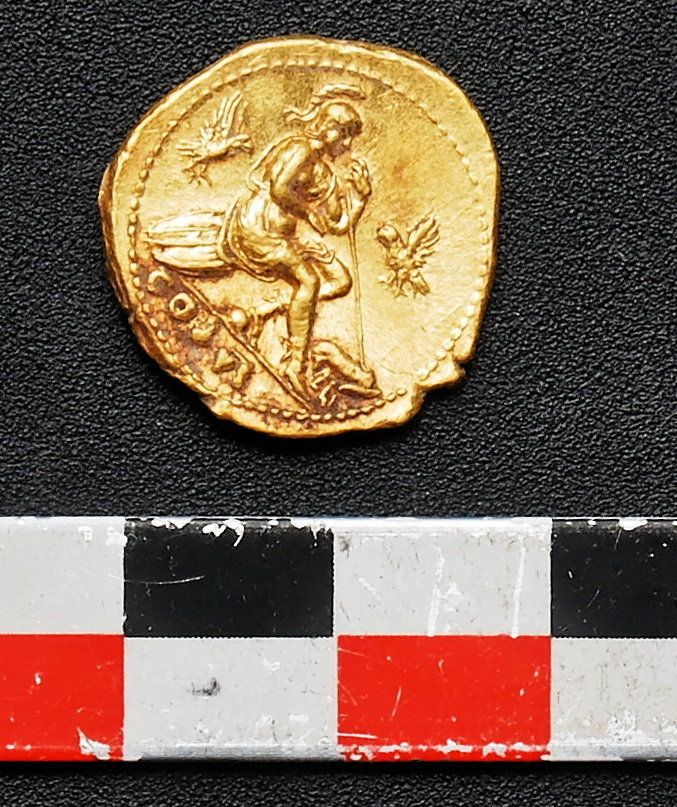 One of three gold coins recently recovered during an excavation at a shop outside