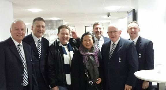 <strong><em>Bazza and Eliana surrounded by Tottenham legends: Oh when the Spurs go marching in...</em></strong>