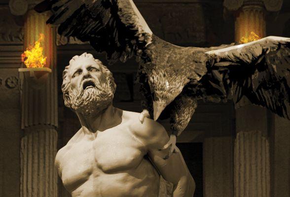 Prometheus tormented by the Eagle, representative of Zeus