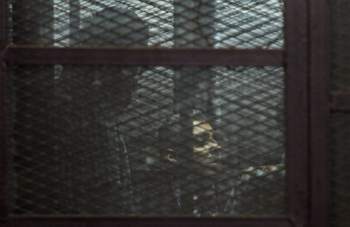 Al-Jazeera journalists, Canadian Mohamed Fahmy (C) and Egyptian Baher Mohamed (unseen), both accused of supporting the blackl