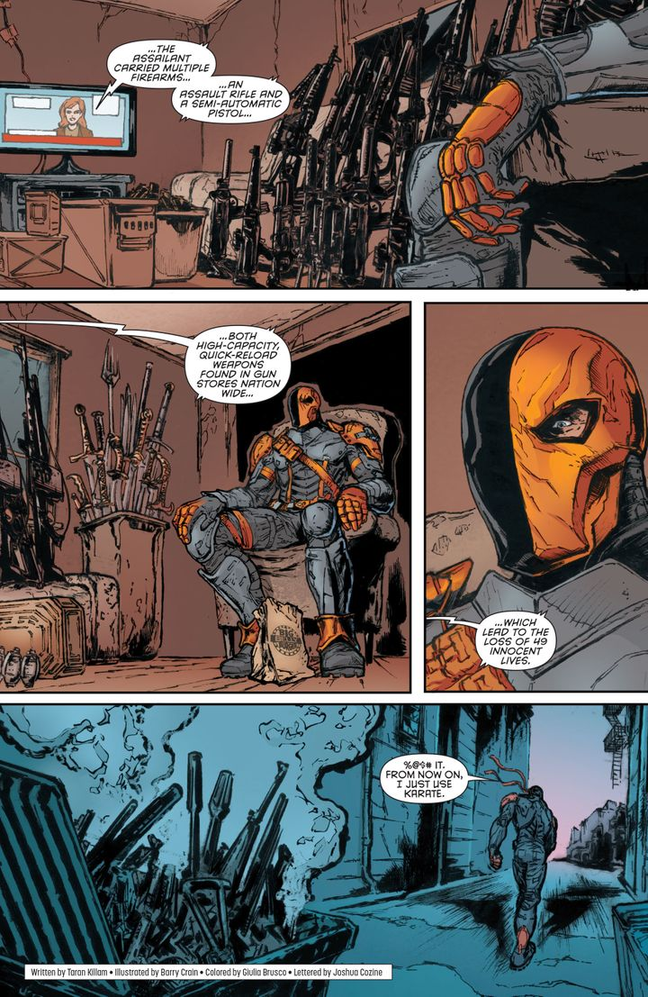 Deathstroke reacts to the news of the Pulse nightclub shooting