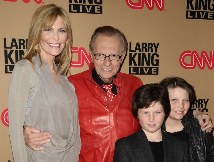 "King with his seventh wife, Shawn Southwick, and sons Cannon King and Chance King at a party for the final broadcast of ""Larry King Live"" on Dec. 16, 2010, in Beverly Hills, California."