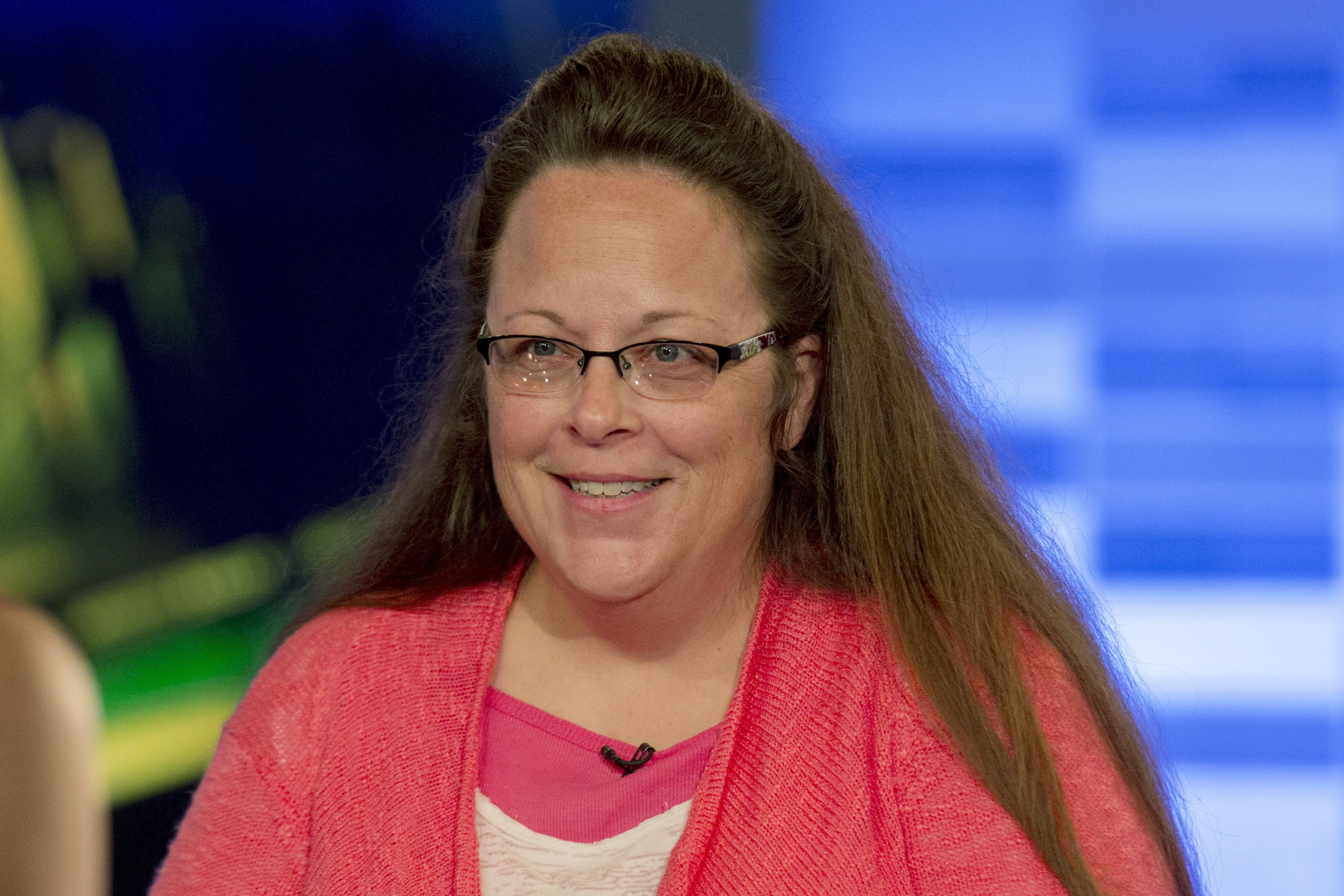 Kentucky county clerk Kim Davis speaks during an interview on Fox News Channel's 'The Kelly File' in New York September 23, 2015. A federal judge on Wednesday denied Davis a stay of his order requiring her office to issue marriage licenses to all eligible couples who want one, the latest setback for the Kentucky county clerk who went to jail rather than issue licenses to gay couples. REUTERS/Brendan McDermid