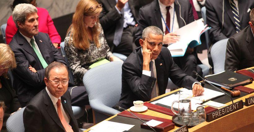 President Barack Obama and United Nations Secretary-General Ban Ki-moon at the UN.