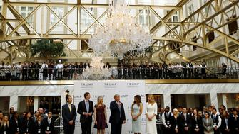 (L-R) Donald Trump Jr., Eric Trump, Tiffany Trump, Republican U.S. presidential nominee Donald Trump, Melania Trump and Ivanka Trump attend an official ribbon cutting ceremony at the new Trump International Hotel in Washington U.S., October 26, 2016.    REUTERS/Gary Cameron