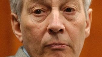 Robert Durst sits in court during a pretrial hearing for the September 2001 murder of Morris Black in Galveston, Texas, September 22, 2003. Durst, heir to a New York real estate fortune, is accused of murdering, dismembering and dumping the body of his 71-year-old neighbor in Galveston Bay. The pretrial hearing was to determine the admissibility of taped phone conversations of Durst with his wife Debrah Charatan. REUTERS/POOL/L.M. Otero  DWC/SV