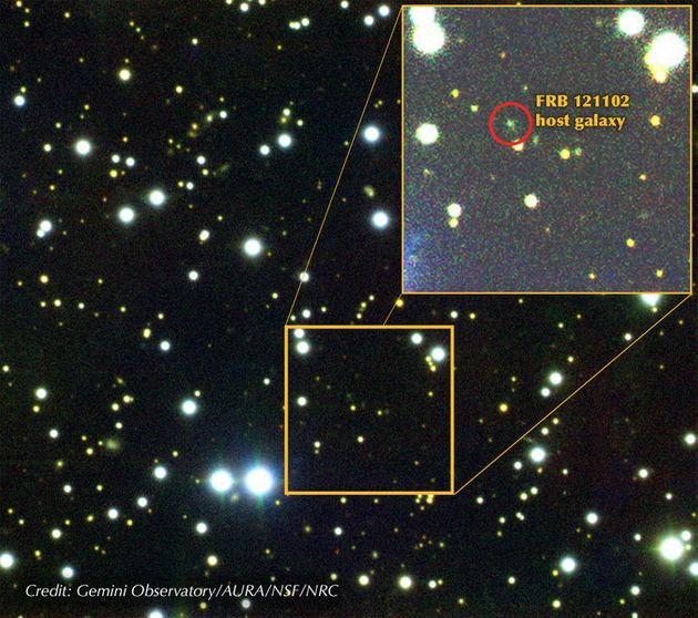 This is a composite image of a dwarf galaxy 3 billion light years awaywhich has been identified...