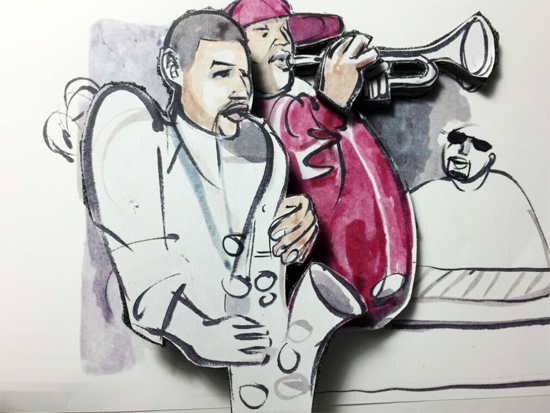 Two Brotha's, Two Musicians by Leon Johnson,11.5 X 13, mixed media, 2015; Artwork is featured in the <em>Red Rooster Cookboo