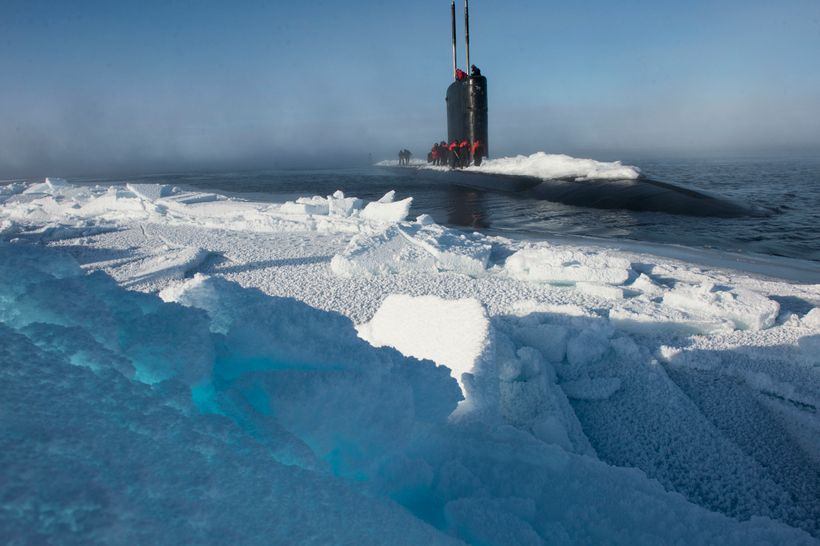 ARCTIC CIRCLE (March 15, 2016) Los Angeles-class submarine USS Hartford  (SSN-768), surfaces near Ice Camp Sargo during Ice E