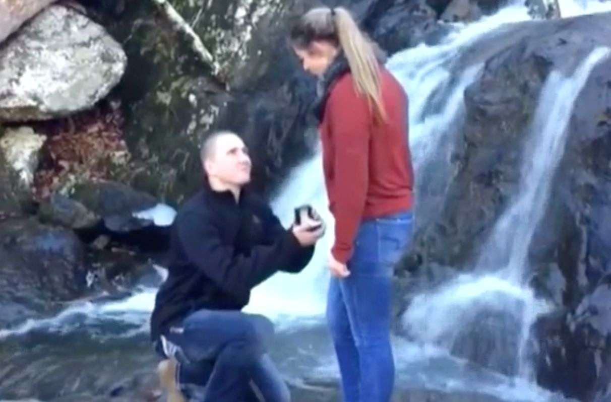 Man Proposes By Waterfall, What Could Possibly Go