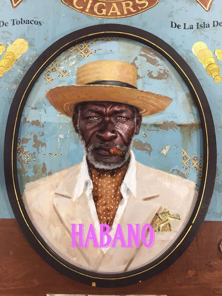 Jules Arthur, <em>Havana's Finest</em> | oil on wood panel, constructed wooden box frame, fabric, leather, 23k gold leaf lett