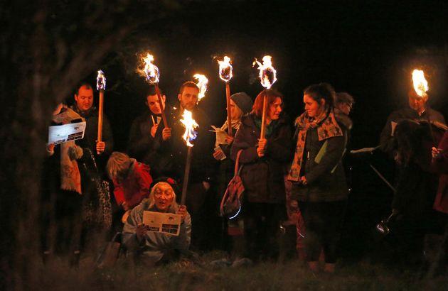 Locals prepare for the ceremony near Bolney, West