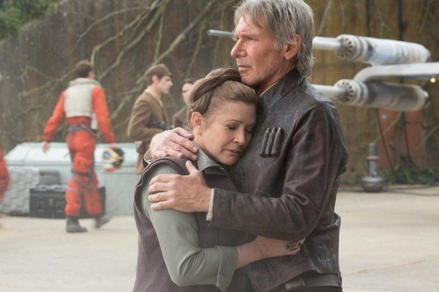 "Carrie Fisher and Harrison Ford in ""Force Awakens."""