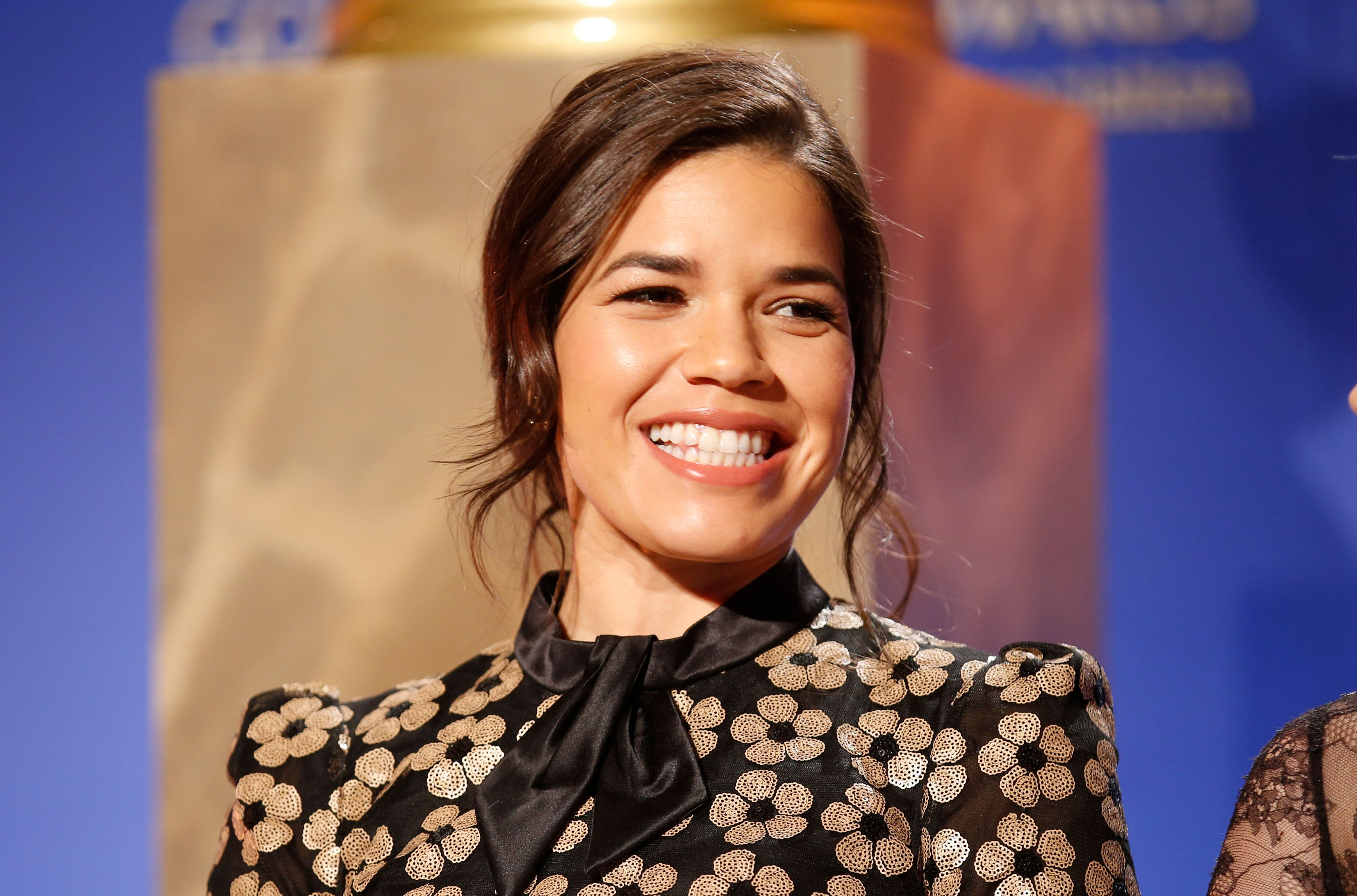 Actress America Ferrera sits on stage during nominations for the 73rd annual Golden Globe Awards in Beverly Hills, California December 10, 2015. The awards will be presented on January 10, 2016. REUTERS/Danny Moloshok