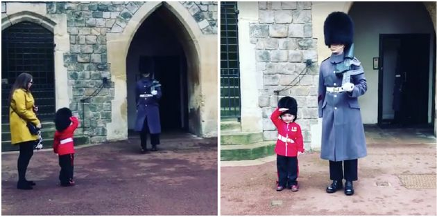 Windsor Castle Guardsman Poses For Picture With Toddler Wearing Matching Uniform In Sweet