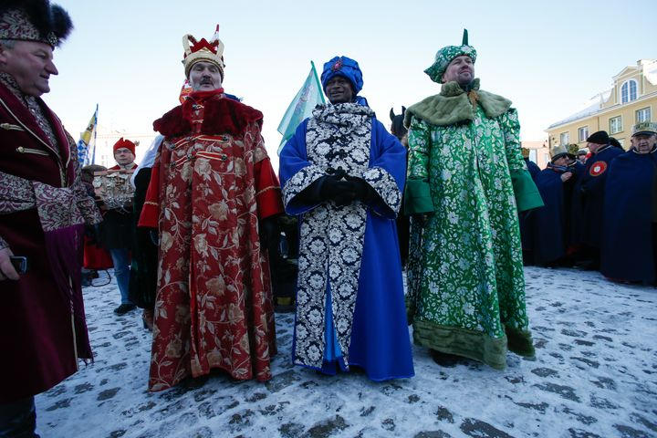 People are seen taking part in the Three Kings Day celebrations in Bydgoszcz, Poland on 6 January, 2017.